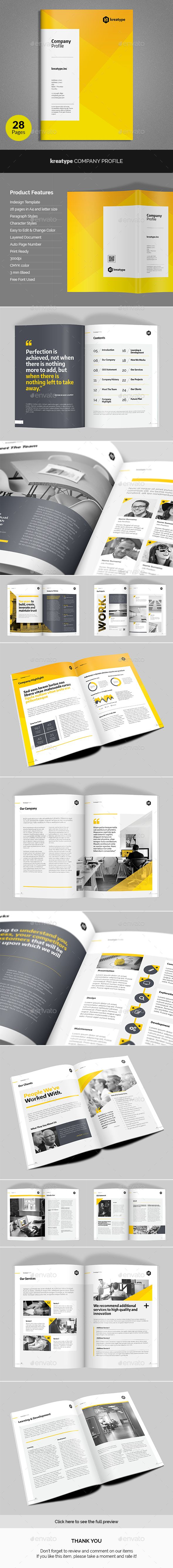 Kreatype Company Profile Template InDesign INDD. Download here: http://graphicriver.net/item/kreatype-company-profile/16449256?ref=ksioks