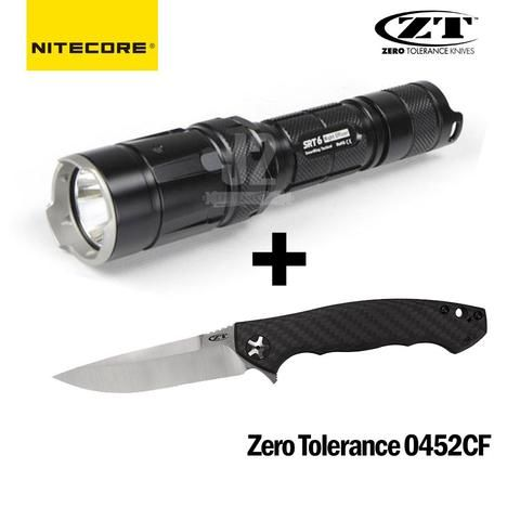 Zero Tolerance 0452CF Knife + Nitecore SRT6 LED Flashlight Combo