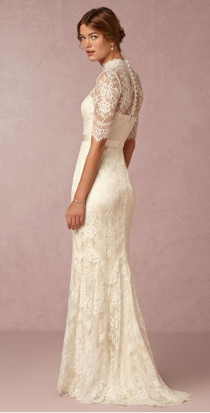 Lace wedding dress with sleeves ' Bridgette' Gown from @BHLDN