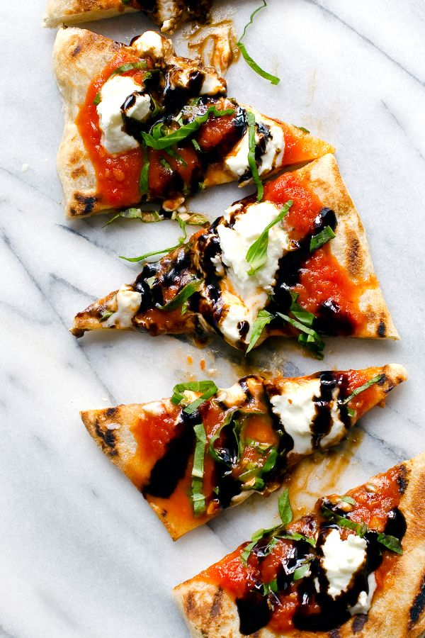 Recipe for Grilled Flatbread with Pomodoro, Goat Cheese, Basil and Balsamic | DeLallo Recipes