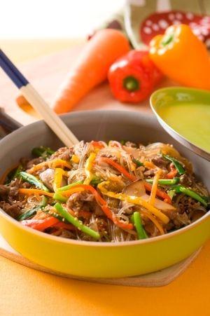 「フライパンひとつで本格韓国料理 チャプチェ」フライパンは、火の通りが早いので、炒め物や焼き物だけでなく、揚げものや煮ものなどにも使えて便利。底面が広く少し深さのあるものがおすすめ。【楽天レシピ】