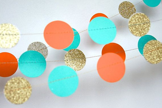Paper Garland in Turquoise, Orange and Gold, Bridal Shower, Baby Shower, Party Decorations, Birthday Decor