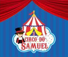 Placa de PVC - Tamanho 60x60 - Tema Circo Menino Temos em outros formatos e tamanhos. Fazemos no tema que desejar! Confira!