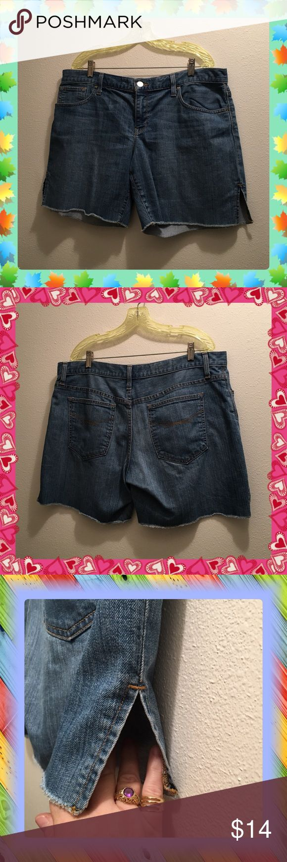 Re-Posh Like New Gap Boyfriend Shorts 1969 32/14 Purchased from a very sweet girl on here & got to wear them once & lost 35lbs so they are too big now, sure cute with hemmed slits up the sides of each leg. They are the lightest blue you see in the pictures, lighting in this house is terrible. Very comfortable, I like my shorts baggy but as soon as I let go of these after zipping & buttoning them they hit the floor, good for me but not my wallet. GAP Shorts Jean Shorts