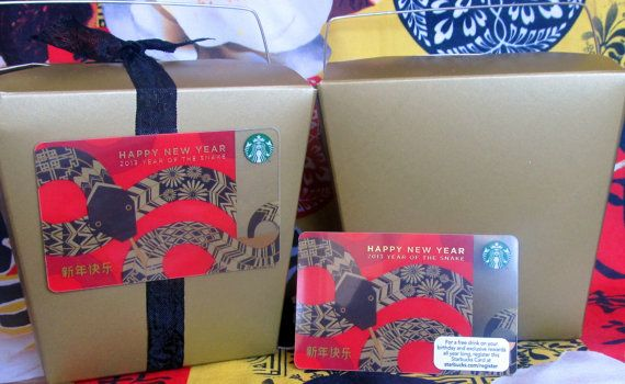 6 take-out boxes ANTIQUE GOLD & Starbucks gift cards DIY favors Chinese New Year Snake party