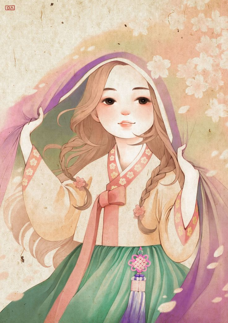 Illustrations with Hanbok(Korean traditional clothing)