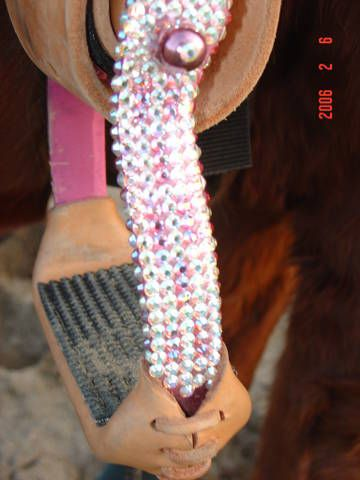 Barrel and rope horse stirrups in Crystal AB by Pepper. I have these in purple. Great stirrups but they are seriously hideous.