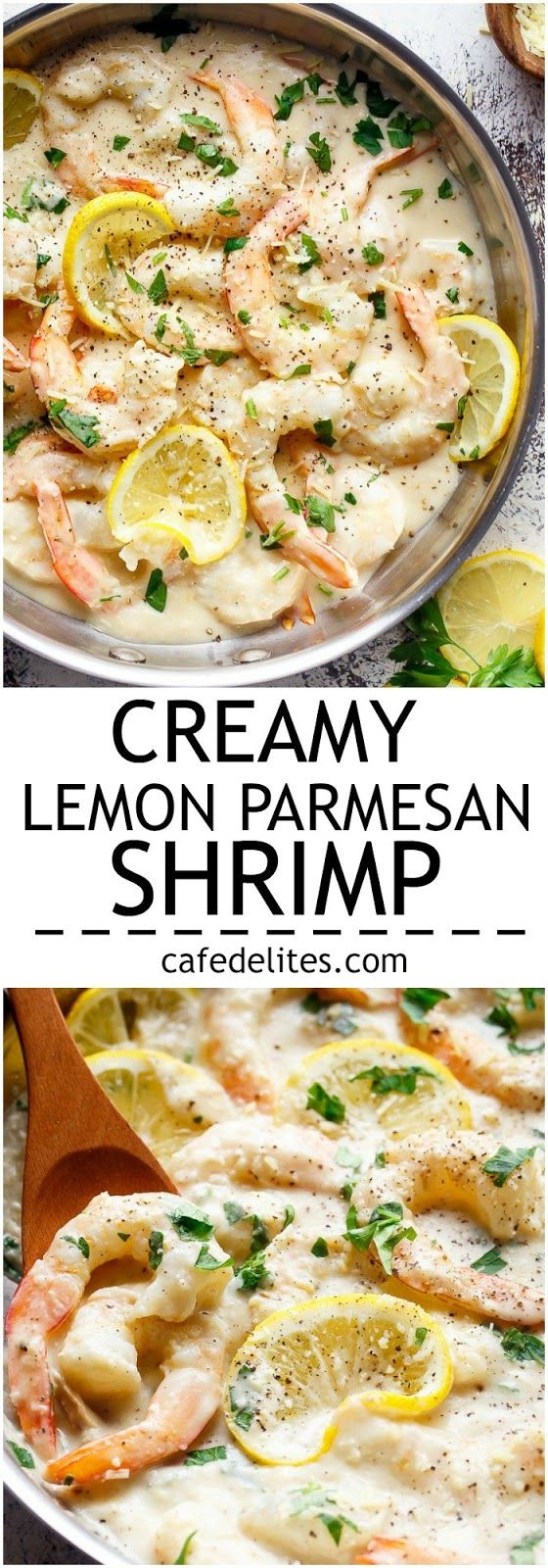 Creamy Lemon Parmesan Shrimp is a restaurant quality gourmet meal! Only minutes to make and full of lemon parmesan flavours with a good kick of garlic and NO HEAVY CREAMS as an option! Plus no dairy options! | http://cafedelites.com