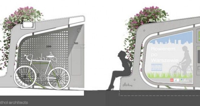 Estacionamiento de bicicletas por un lado, banca y jardinera por el otro - VeoVerde