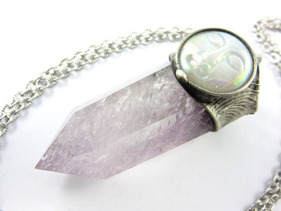titania  moon goddess amethyst crystal pendant  by callistojewelry