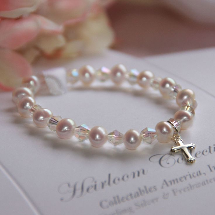 Freshwater Pearl and Swarovski Crystal Children's Bracelet with Sterling Silver Cross Charm | 6""