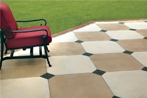 """Painted concrete patio. Possible idea for the downstairs patio. 26"""" squares with 6 """" accent squares."""