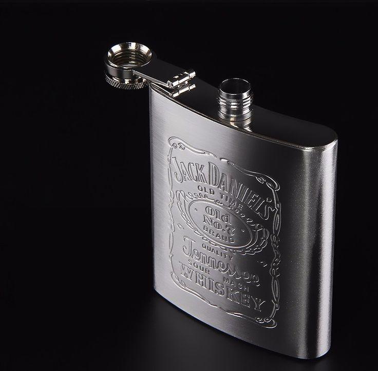 Vintage Stainless Steel Hip Flask For Whiskey Brandy Vodka