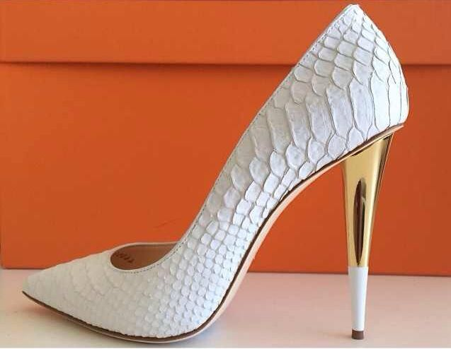 Hermes - White Python with two tone gold heels<3