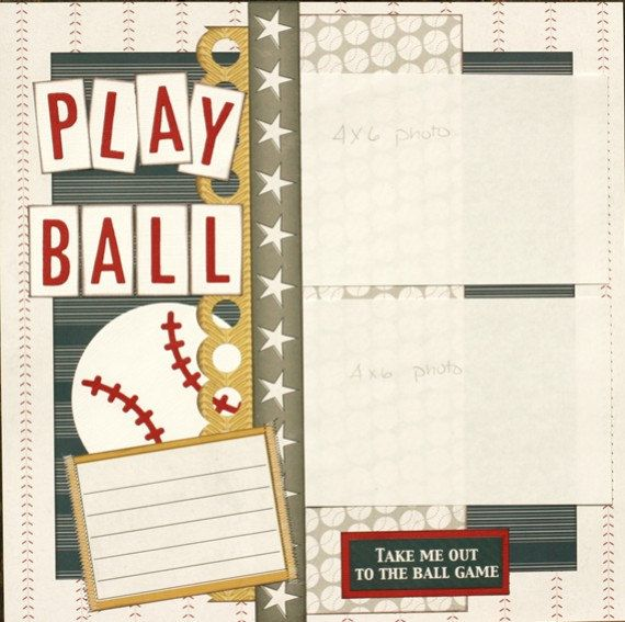 Premade Scrapbook Single Page 12 x 12 Baseball Layout - Play Ball