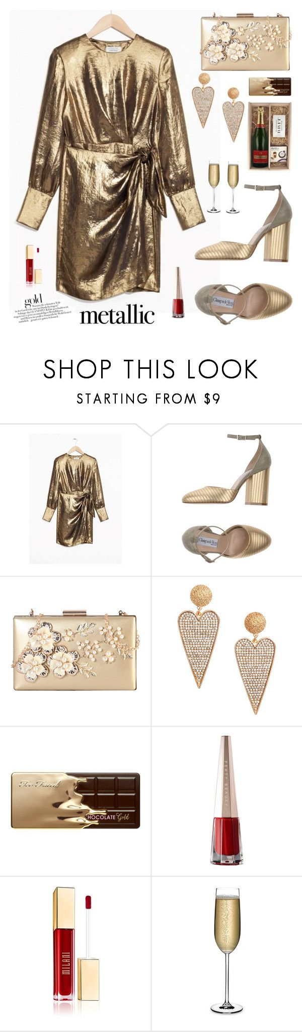 """How To Dress For Christmas Party Season"" by hamaly ❤ liked on Polyvore featuring Giampaolo Viozzi, Rimen & Co., H&M, Too Faced Cosmetics, Nude, Piper-Heidsieck, Christmas, outfit, ootd and metallicdress"