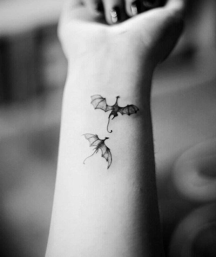 Two Dragons Flying Small Wrist Tattoo Dragon Tattoo Design Black White Photo In 2020 Dragon Tattoo Small Dragon Tattoos Dragon Tattoo Designs