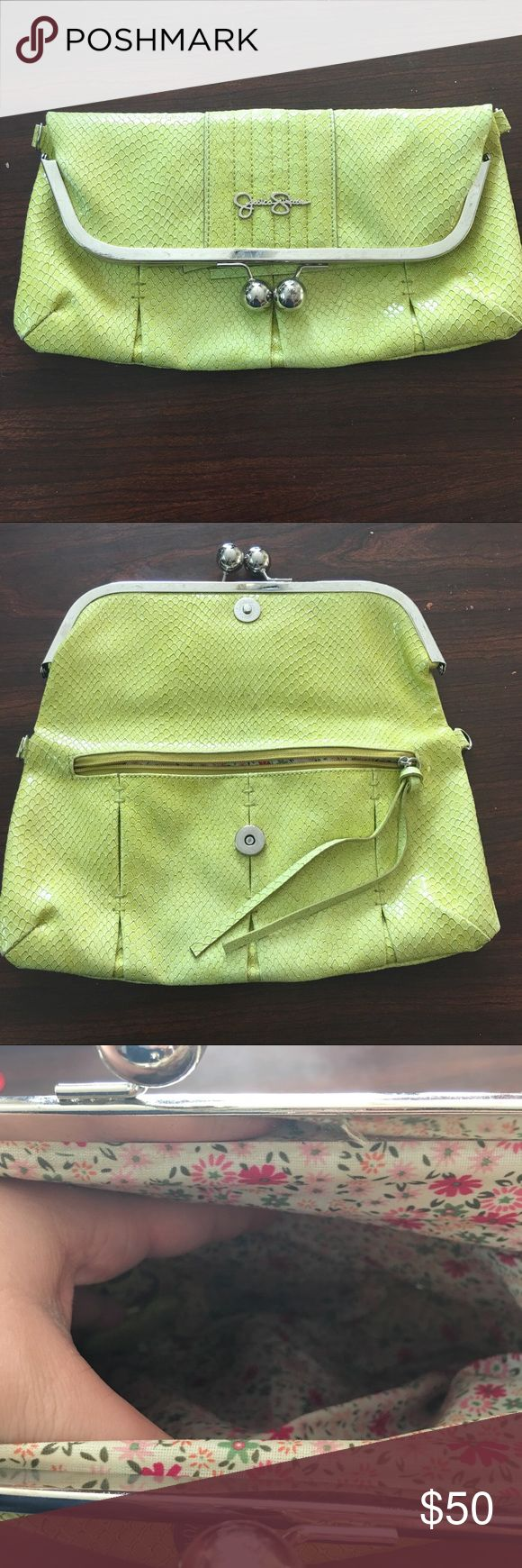 Yellow Jessica Simpson Clutch Crossbody Bag This yellow Jessica Simpson bag is so versatile! It can be a clutch and a cross body bag. It has a long strap that matches perfectly. The inside is a beautiful floral material. Also has a zippered part on the front inside for easy and quick access. Jessica Simpson Bags Clutches & Wristlets