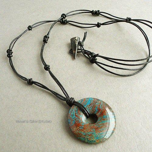 Blue Jasper Stone Donut Black Leather Necklace for Men - Handcrafted