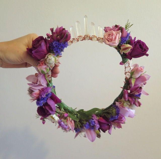 Custom Fresh Flower & Quartz Crown for Sydney Bride Sacha Marie by Crowns&Wreaths