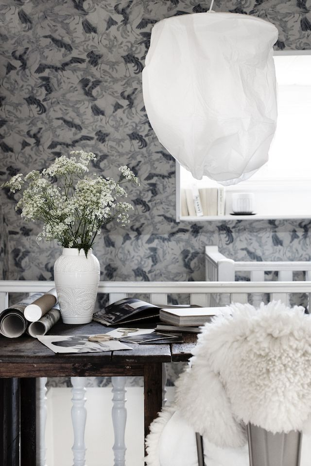 Dancing crane wallpaper in the Swedish home of Anna Kvarnström