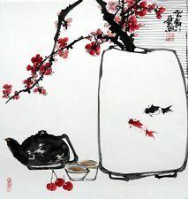 "Китайский Дзен живопись, птицы, цветы, золотая рыбка, слива, цветок, чайник 19x20"" чан арт"