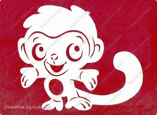 Картина панно рисунок Новый год Вырезание Вытынанки обезьяны - часть 2 Бумага фото 2