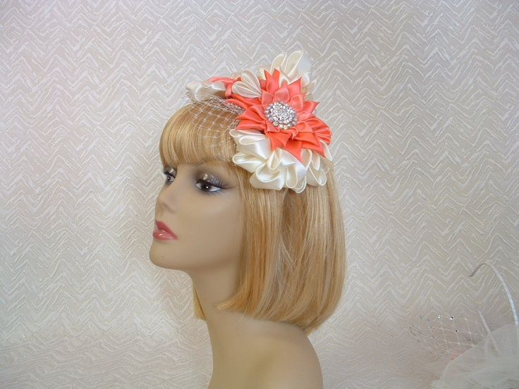 Very vintage coral and ivory race day or bridal fascinator http://www.ebay.com.au/itm/BRIDAL-WEDDING-FASCINATOR-CORAL-IVORY-FLOWERS-CRYSTAL-PEARL-VINTAGE-STYLE-/271200552116?pt=AU_Wedding_Clothing=item3f24d004b4