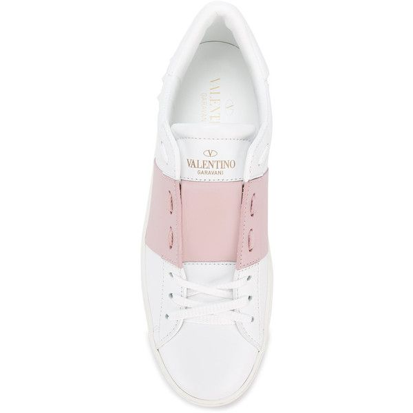 Valentino Valentino Garavani Open sneakers ($640) ❤ liked on Polyvore featuring shoes, sneakers, summer footwear, embellished shoes, valentino trainers, valentino sneakers and logo shoes