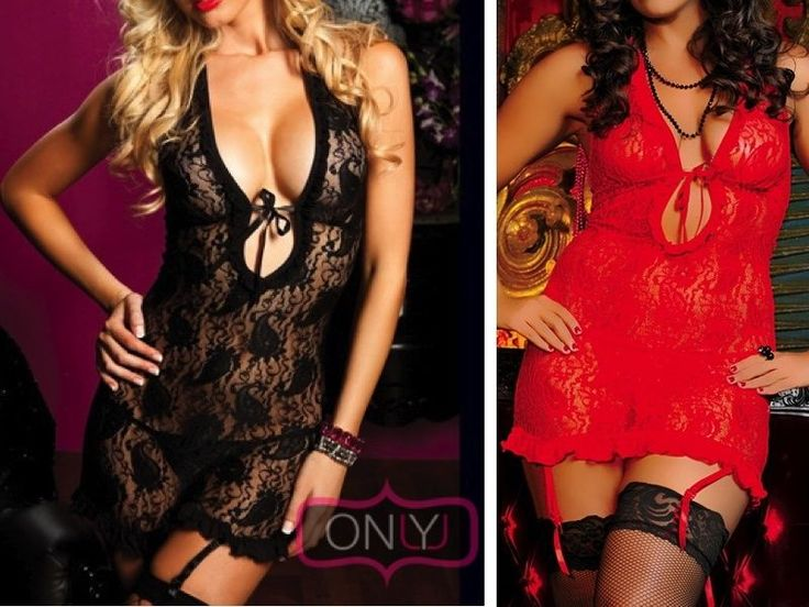Sexy Plus Size Women's Babydoll lingerie Teddy Romantic Red & Black G-String