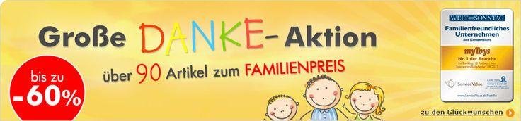 """Wir bedanken uns bei unseren Kundinnen für die Wahl zum """"Familienfreundlichsten Anbieter von Spielwaren und Babybedarf 2013"""".   www.mytoys.de/Gro%C3%9Fe-Danke-Aktion/KID/de-mt.mk.danke.01/  www.myToys.de"""