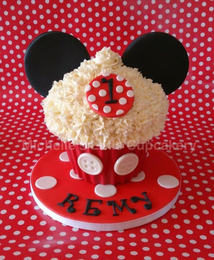 Mickey Mouse Themed Vanilla Giant Cupcake For A Little Boys First Birthday Party