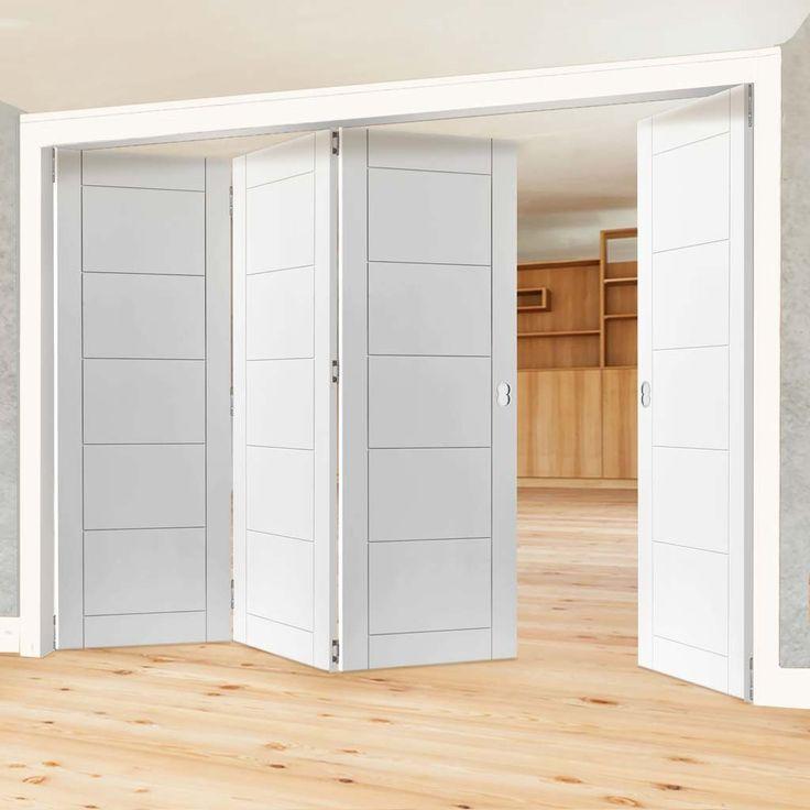 Thrufold Apollo White 3+1 Folding Door. #whitefoldingdoors #whitedoors #foldingdoors #thrufolddoors #roomfolddoors #thrufold #moderndoors