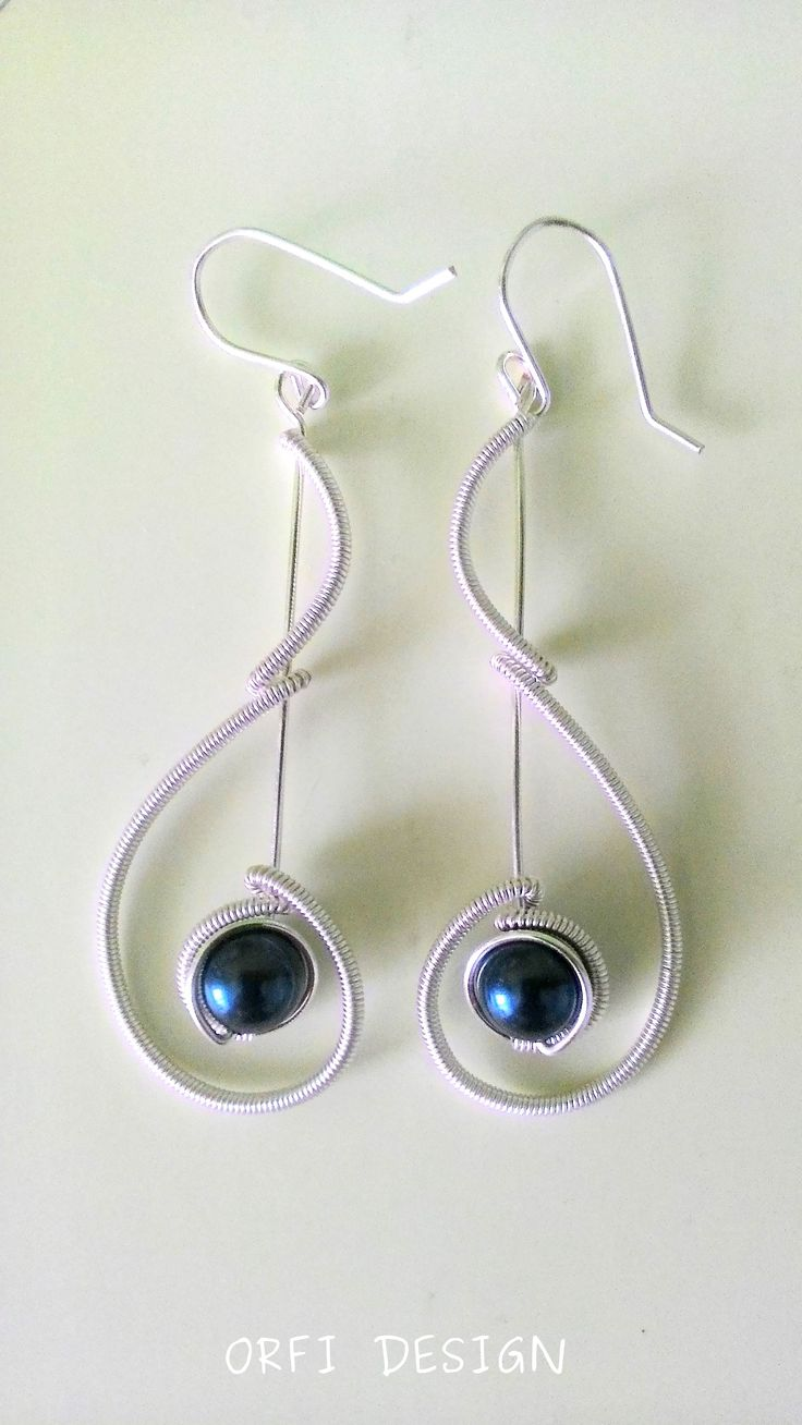 wire earings with pearls..