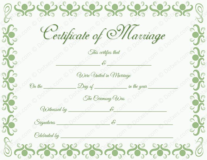 20 best Printable Marriage Certificates images on Pinterest - marriage certificate template