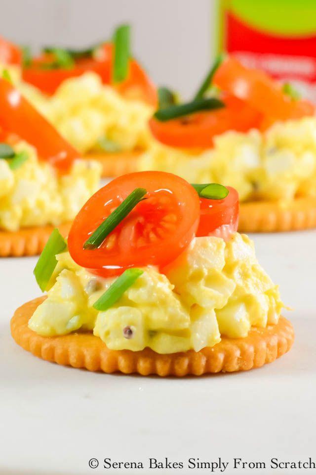 RITZ Crackers Egg Salad-Tomato Bites   Serena Bake…