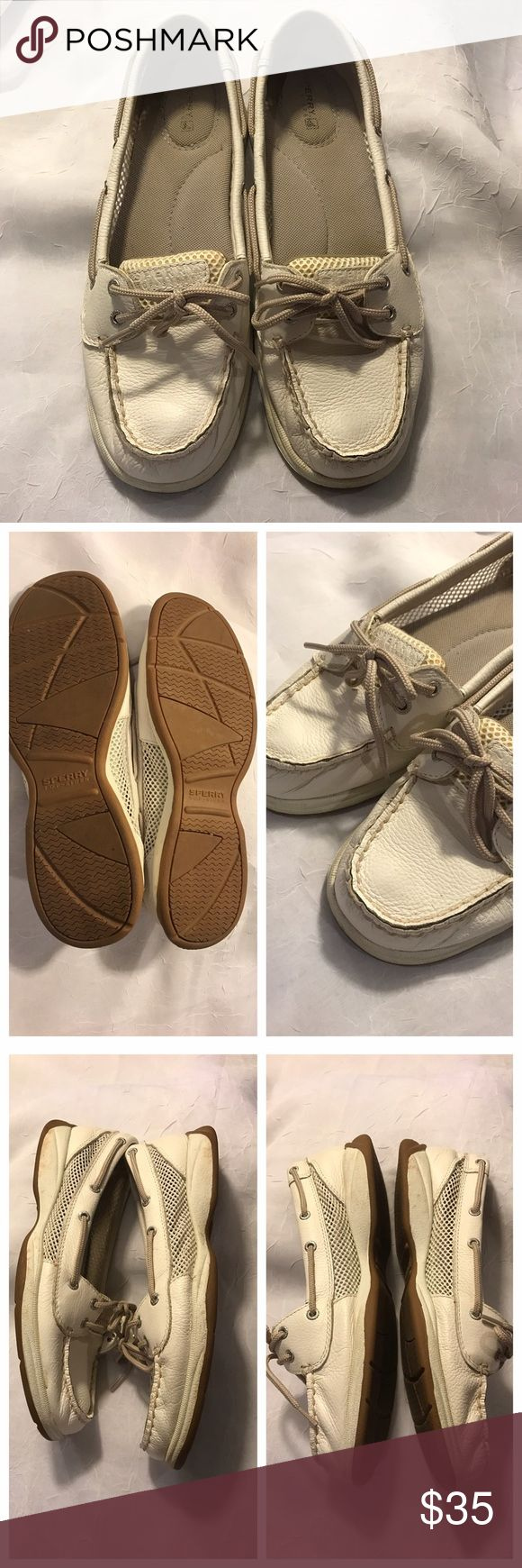 White Sperrys Very good condition. Minor imperfections. Please use zoom to view slight marks. Sperry Top-Sider Shoes Flats & Loafers