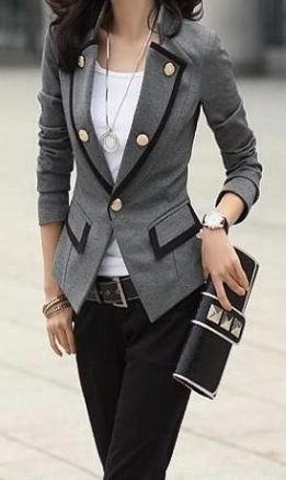 Grey blazer with gold buttons, buttons, buttons