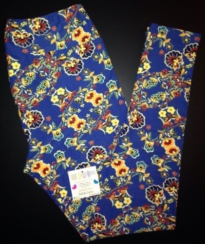 54.44$  Buy here - http://viwbf.justgood.pw/vig/item.php?t=8us7r257436 - LuLaRoe ASIAN FLORAL Leggings RARE Tall & Curvy GORGEOUS! Blue Flowers Yoga TC