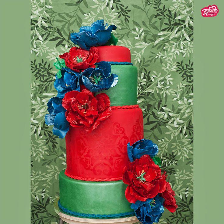 Rainbow of Peonies Wedding Cake  ~ all edible