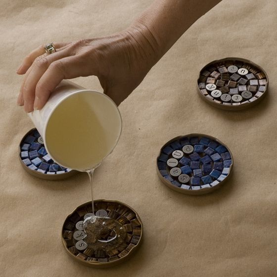 DIY Tutorial - Mosaic Cocktail Coasters made with jar lids, tiles and resin. Great instructions.