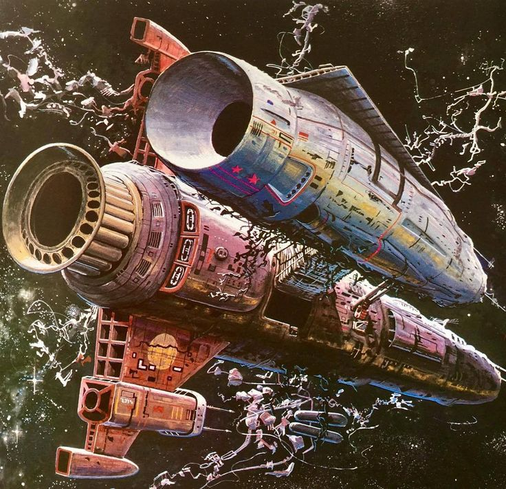 ‪Art by Bob Layzell. From Spacewreck: Ghostships and Derelicts of Space by Stewart Cowley, 1979‬ #boblayzell #scifiart #1979