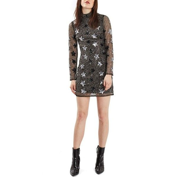 Women's Topshop Star Embellished Minidress ($120) ❤ liked on Polyvore featuring dresses, silver multi, sequin cocktail dresses, white beaded cocktail dress, silver cocktail dress, short cocktail dresses and white cocktail dresses