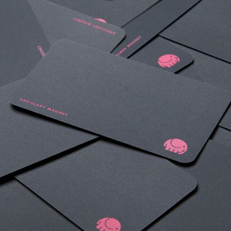 Simplistic yet effective business card design by Groundwave Design. The grey, pink and white colour palette works well. Really nice paper stock has also been used, bringing some needed texture to the design.