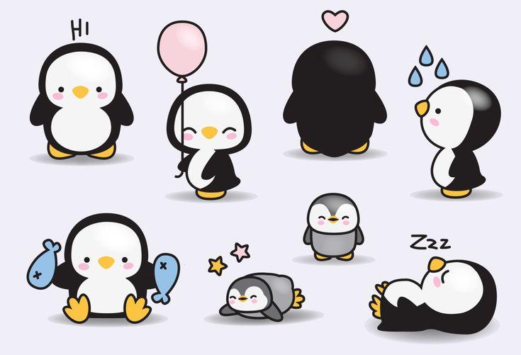 Premium Vector Clipart - Pinguini Kawaii - Cute Penguins ...