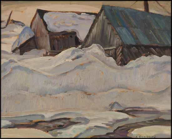 Alexander Young (A.Y.) Jackson - Sawmill 8.5 x 10.5 oil on board