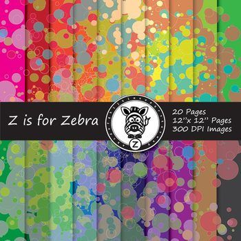 Paint splotches digital paper pack 6 - Commercial use OK
