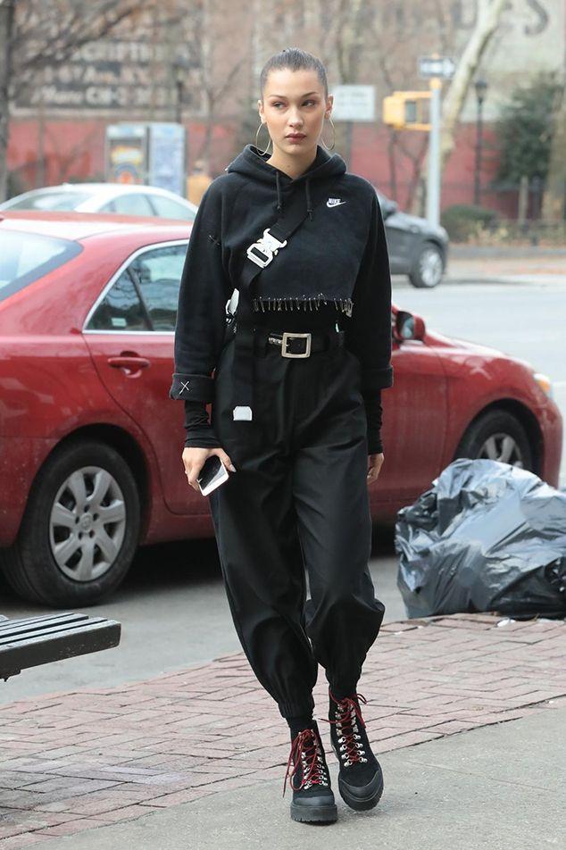 Bella Hadid Took Athleisure To The Next Level With Combat Boots Bella Hadid Outfits Bella Hadid Hadid Style