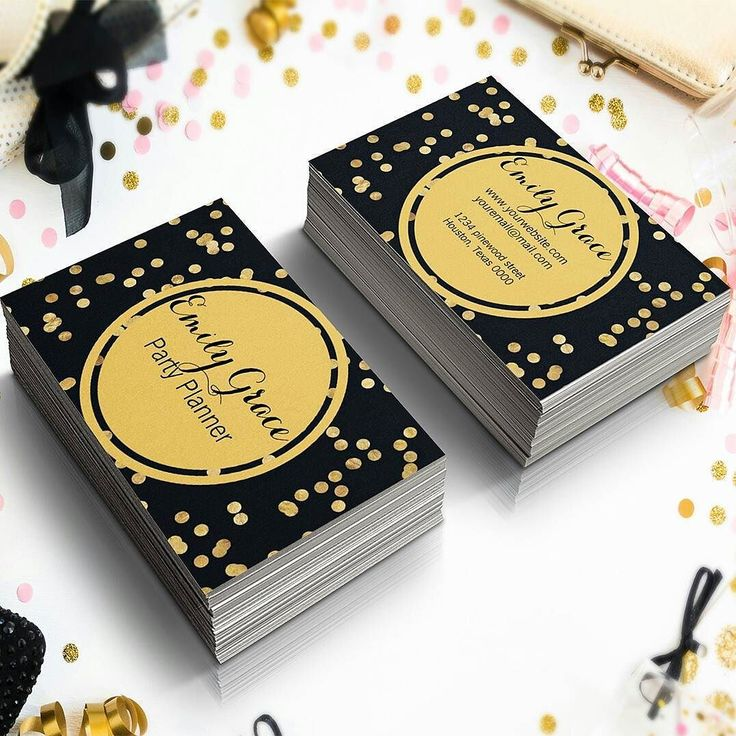 """Style : Black and Gold Confetti   Polka Dots  Black Business Card  Buy From : http://ift.tt/2dND4zq  Store Category : Business Cards  Collection : Black & Gold Confetti  This card is ideal for Party Planners or for anyone who wants to have a glitzy and funky business cards. All the details on this card are completely customizable so go ahead and use this fun business card to make a glitzy impression.  Size & other details: 2""""l x 3.5""""w Choose from eleven types of premium card stock Full-bleed…"""
