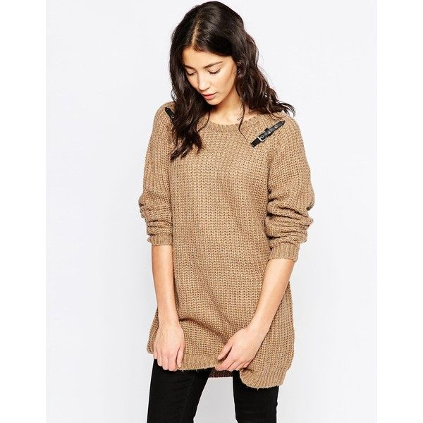 Brave Soul Chunky Knit Sweater With Buckle Detail featuring polyvore, fashion, clothing, tops, sweaters, camel, round neck sweater, slouch sweater, thick knit sweater, slouchy tops and relaxed fit tops